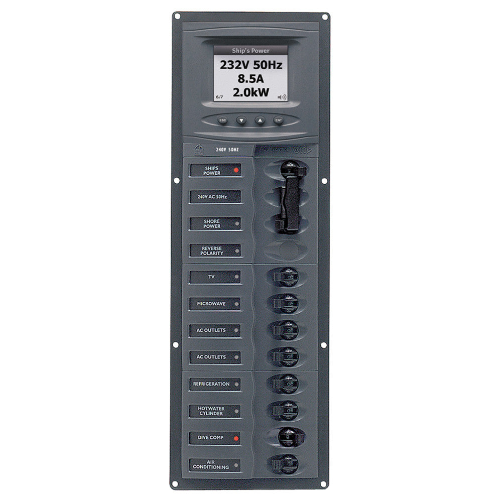 BEP AC Circuit Breaker Panel w/Digital Meters, 8SP 2DP AC230V ACSM Stainless Steel Vertical