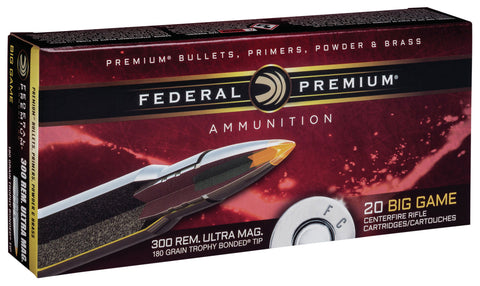 Federal P300RUMTT1 Premium   300 Remington Ultra Magnum (RUM) 180 GR Trophy Bonded Tip 20 Bx/ 10 Cs
