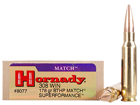 Hornady 8077 Superformance Match 308 Winchester/7.62 NATO 178 GR HPBT 20 Bx/ 10 Cs