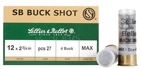 "Sellier & Bellot SB12BSB Shotgun 12 Ga 2.75"" Lead 27 Pellets 4 Buck 25 Bx/ 10 Cs"