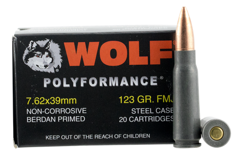 Wolf 762BFMJ Performance 7.62x39mm Bimetal FMJ 123 GR 20Bx/50Cs 1000 Rds Total - 1000 Rounds