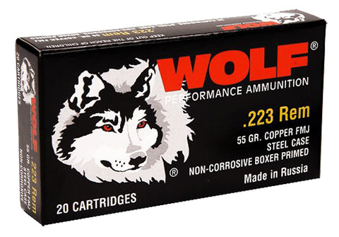 Wolf 22355FMJTINS Performance 223 Remington/5.56 NATO FMJ 55 GR 500 Rds - 500 Rounds