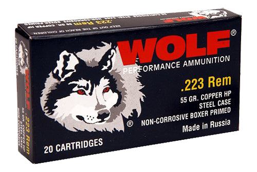 Wolf 22355HP Performance 223 Remington/5.56 NATO Bimetal Jacket 55 GR Hollow Point 500 Rds - 500 Rounds