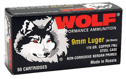 Wolf 919FMJ PolyFormance Pistol 9mm Luger 115 GR Full Metal Jacket 50 Bx/ 10 Cs 500 Total (Case) - 500 Rounds