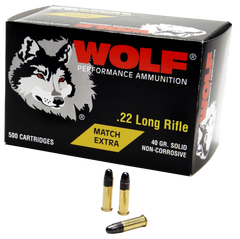 Wolf 22XTRA Match 22 Long Rifle 40 GR Round Nose 5000 Rds - 5000 Rounds