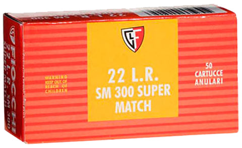 Fiocchi 22SM300 Super Match 22 Long Rifle (LR) 40 GR Lead Round Nose 50 Bx/ 100 Cs