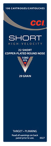 CCI 0027 Short HV 22 Short Copper-Plated Round Nose 29 GR 100Box/50Case - 100 Rounds