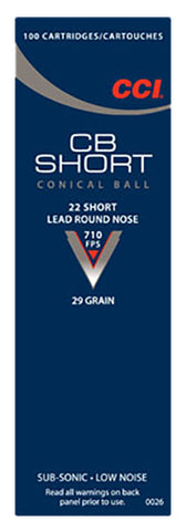 CCI 0026 Low Noise/Training/Specialty CB 22 Short LRN 29 GR 100Box/50Case - 100 Rounds