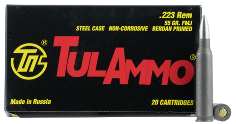 Tulammo TA223550 Centerfire Rifle 223 Remington/5.56 NATO 55 GR Full Metal Jacket 20 Bx/ 50 Cs