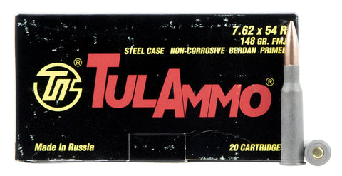 Tulammo TA762548 Centerfire Rifle 7.62X54mm Russian 148 GR FMJ 20 Bx/ 25 Cs