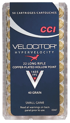 CCI 0047 CCI 22 Long Rifle Velocitor Copper-Plated HP 40GR 50Box/100 Case