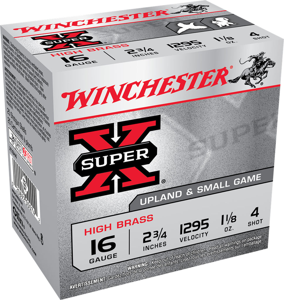"Winchester Ammo X16H4 Super-X High Brass 16 Gauge 2.75"" 1 1/8 oz 4 Shot 25 Bx/ 10 Cs"