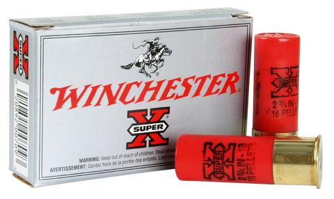 "Winchester Ammo XB121 Super-X Buckshot 12 Gauge 2.75"" Lead 16 Pellets 1 Buck Shot 5 Bx/ 50 Cs"