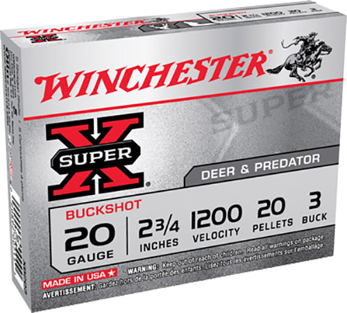 "Winchester Ammo XB203 Super-X 20 Gauge 2.75"" Copper-Plated Lead 20 Pellets 3 Buck 5 Bx/ 50 Cs"