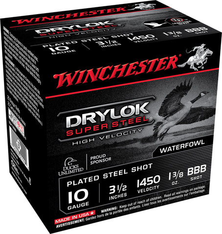 "Winchester Ammo SSH10BBB Drylock Super Steel High Velocity 10 Gauge 3.5"" 1 3/8 oz BBB Shot 25 Bx/ 10 Cs"