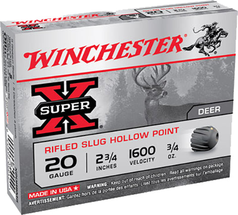 "Winchester Ammo X20RSM5 Super-X 20 Gauge 2.75"" 3/4 oz Slug Shot 5 Bx/50 Cs"
