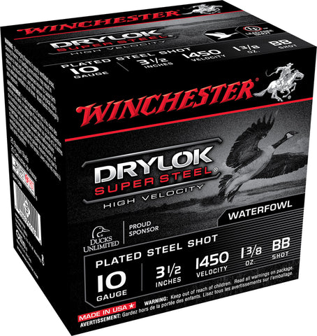 "Winchester Ammo SSH10BB Drylock Super Steel High Velocity 10 Gauge 3.5"" 1 3/8 oz BB Shot 25 Bx/ 10 Cs"