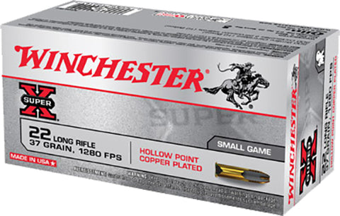 Winchester Ammo X22LRH Super-X 22 Long Rifle 37 GR Lead Hollow Point 50 Bx/100 Cs