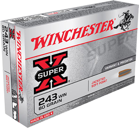 Winchester Ammo X2431 Super-X 243 Winchester 80 GR Pointed Soft Point 20 Bx/10 Cs
