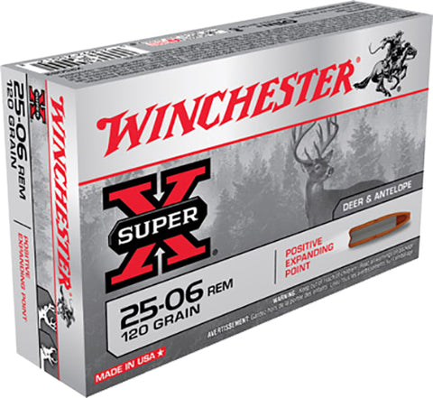 Winchester Ammo X25062 Super-X 25-06 Remington 120 GR Positive Expanding Point 20 Bx/ 10 Cs