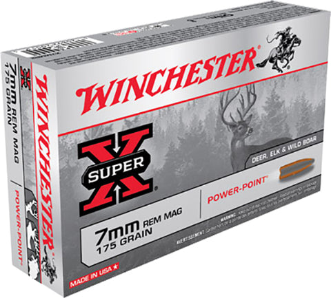Winchester Ammo X7MMR2 Super-X 7mm Remington Magnum 175 GR Power-Point 20 Bx/ 10 Cs