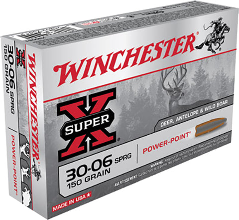 Winchester Ammo X30061 Super-X 30-06 Springfield 150 GR Power-Point 20 Bx/ 10 Cs