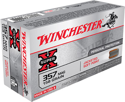 Winchester Ammo X3575P Super-X 357 Magnum 158 GR Jacketed Soft Point 50 Bx/ 10 Cs