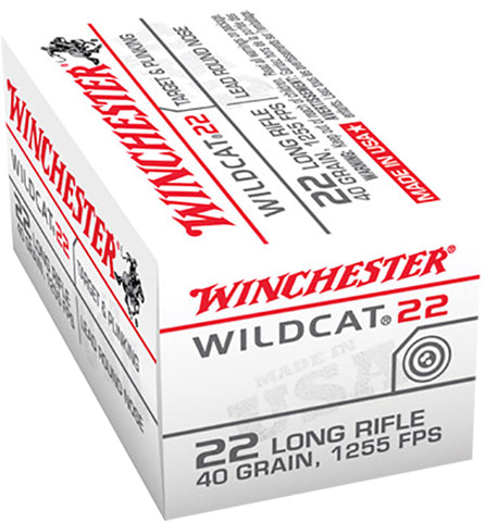 Winchester Ammo WW22LR Wildcat 22 Long Rifle 40 GR Lead Round Nose 50 Bx/ 100 Cs