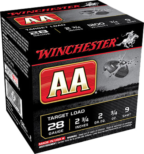 "Winchester Ammo AA289 AA Target Loads 28 Gauge 2.75"" 3/4 oz 9 Shot 25 Bx/ 10 Cs - 250 Rounds"
