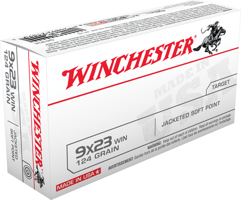 Winchester Ammo Q4304 Best Value 9x23 Winchester 124 GR Jacketed Soft Point 50 Bx/ 10 Cs