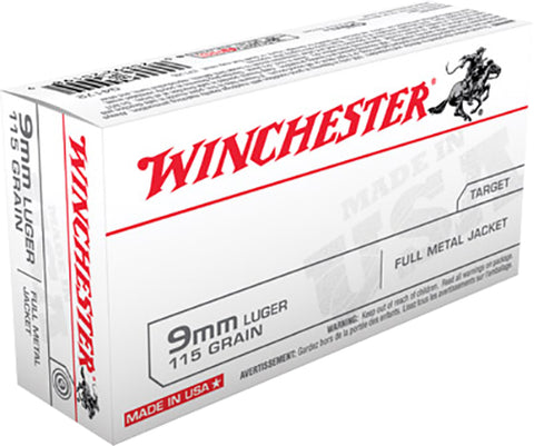 Winchester Ammo Q4172 Best Value 9mm Luger 115 GR Full Metal Jacket 50 Bx/ 10 Cs