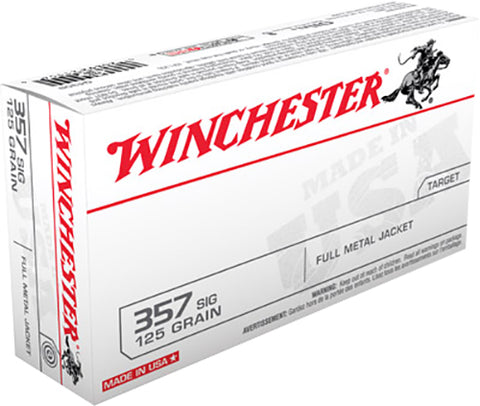 Winchester Ammo Q4309 Best Value 357 Sig Sauer 125 GR Full Metal Jacket 50 Bx/ 10 Cs