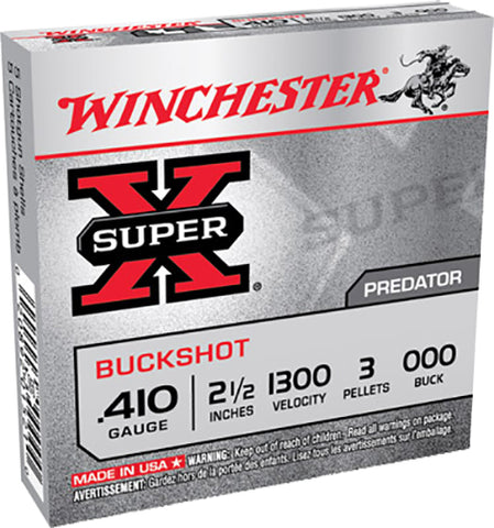 "Winchester Ammo XB41000 Super-X 410 Gauge 2.5"" Copper-Plated Lead 3 Pellets 000 Buck 5 Bx/ 50 Cs"