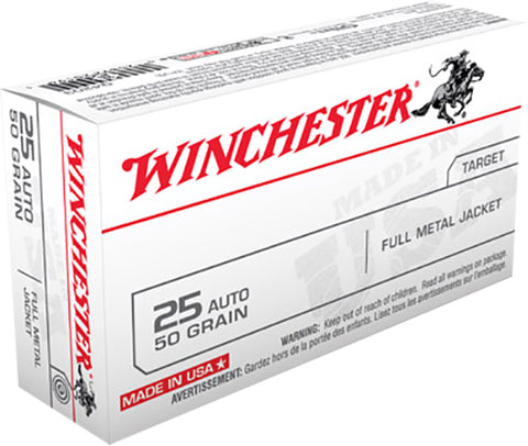 Winchester Ammo Q4203 Best Value 25 Automatic Colt Pistol (ACP) 50 GR Full Metal Jacket 50 Bx/ 10 Cs