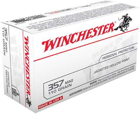 Winchester Ammo Q4204 Best Value 357 Magnum 110 GR Jacketed Hollow Point 50 Bx/ 10 Cs