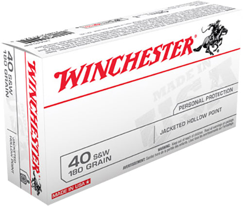 Winchester Ammo USA40JHP Best Value 40 Smith & Wesson 180 GR Jacketed Hollow Point 50 Bx/ 10 Cs