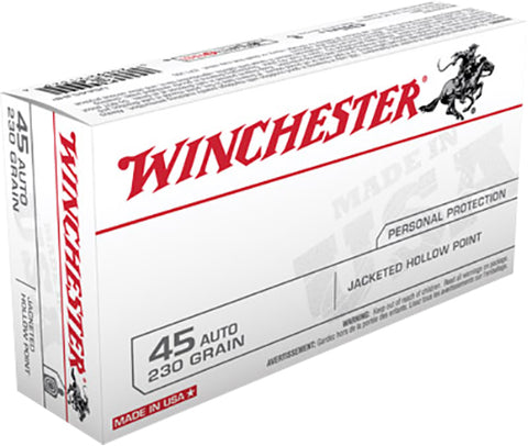 Winchester Ammo USA45JHP Best Value 45 Automatic Colt Pistol (ACP) 230 GR Jacketed Hollow Point 50 Bx/10 Cs
