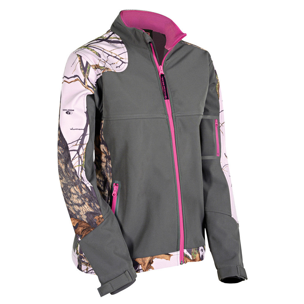 Yukon Womens Soft Shell Jacket Mossy Oak Pink/Grey Large