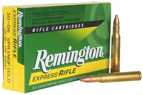 Remington Ammunition R30061 Standard 30-06 Springfield 125 GR Pointed Soft Point 20 Bx/ 10 Cs