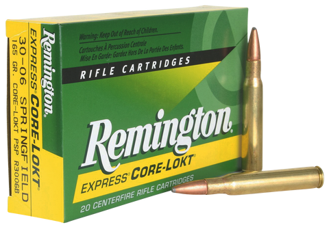 Remington Ammunition R3006B Core-Lokt 30-06 Springfield 165 GR Core-Lokt Pointed Soft Point 20 Bx/ 10 Cs