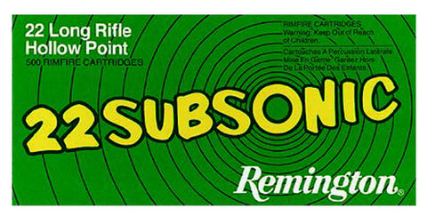 Remington Ammunition SUB22HP Subsonic 22 LR Hollow Point 38 GR 50Box/100Case