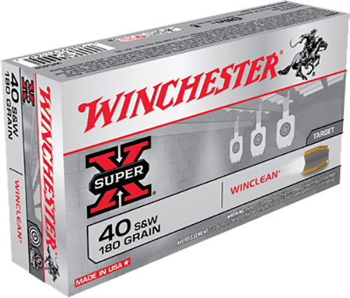 Winchester Ammo WC402 WinClean 40 Smith & Wesson 180 GR Brass Enclosed Base 50 Bx/ 10 Cs
