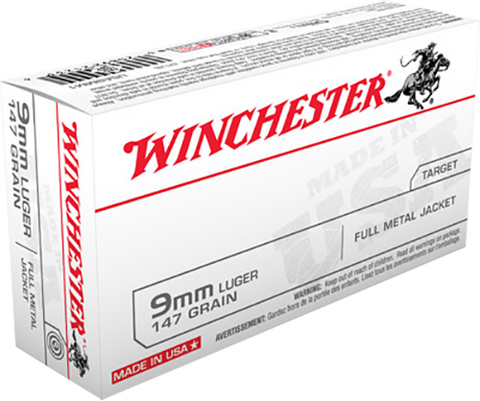 Winchester Ammo USA9MM1 Best Value 9mm Luger 147 GR Full Metal Jacket 50 Bx/ 10 Cs
