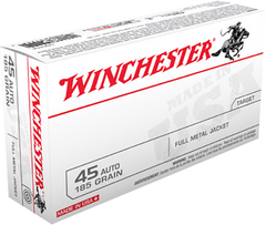 Winchester Ammo USA45A Best Value 45 Automatic Colt Pistol (ACP) 185 GR Full Metal Jacket 50 Bx/10 Cs