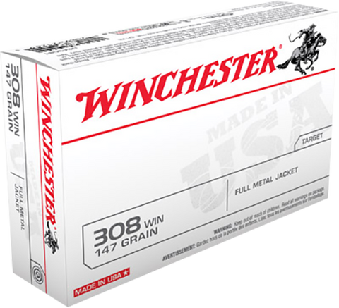 Winchester Ammo USA3081 Best Value 308 Winchester/7.62 NATO 147 GR Full Metal Jacket Boat Tail 20 Bx/ 10 Cs