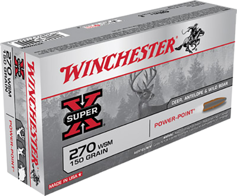 Winchester Ammo X270WSM Super-X 270 Winchester Short Magnum 150 GR Power-Point 20 Bx/10 Cs