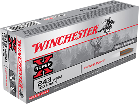 Winchester Ammo X243WSS Super-X 243 Winchester Super Short Magnum 100 GR Power-Point 20 Bx/ 10 Cs
