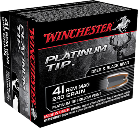 Winchester Ammo S41PTHP Supreme 41 Remington Magnum 240 GR Platinum Tip Hollow Point 20 Bx/10 Cs