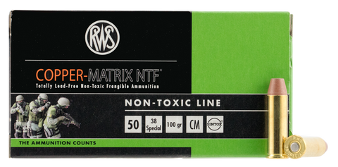 RWS 203840050 Copper Matrix 38 Special 100 GR Non-Toxic 50 Bx/ 10 Cs