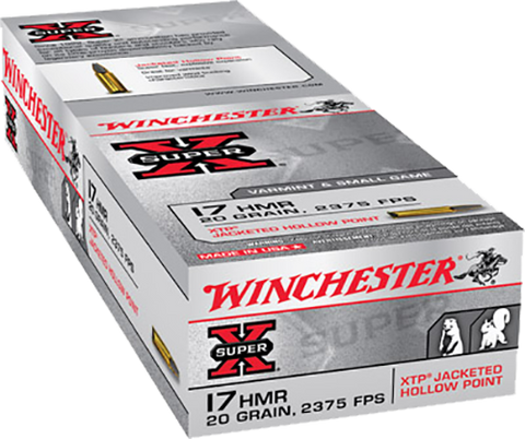 Winchester Ammo X17HMR1 Super-X 17 Hornady Magnum Rimfire (HMR) 20 GR Jacketed Hollow Point 50 Bx/ 40 Cs